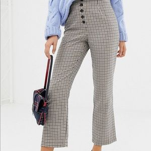 Plaid high waist button front cropped pants